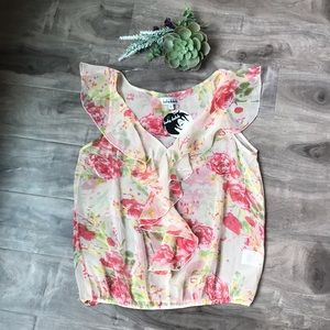 LADY DUTCH floral sheer tank Size Lg. NEW